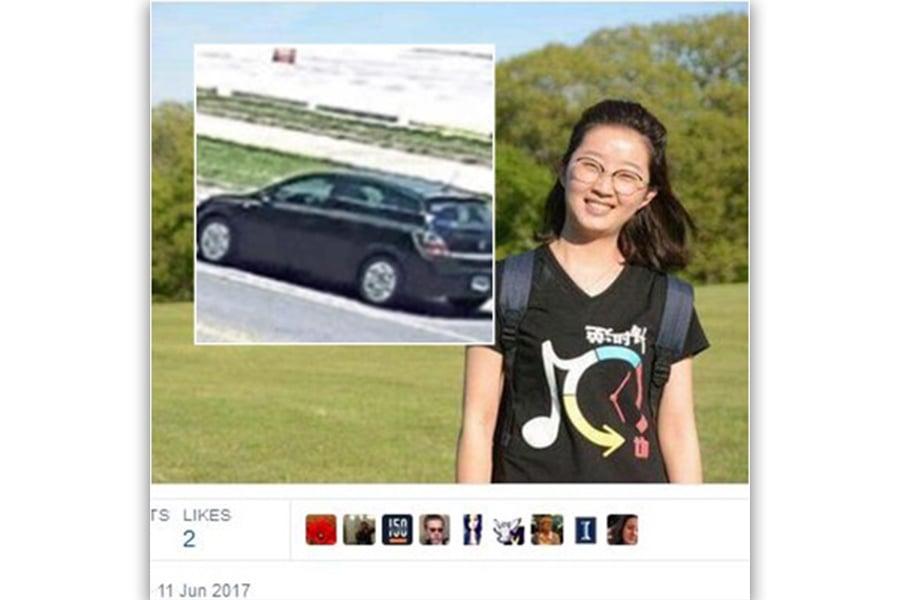 6月9日午後,章瑩穎離開學校去簽租房合同時,上了一輛黑色Saturn Astra轎車,隨後失蹤。(合成圖片)