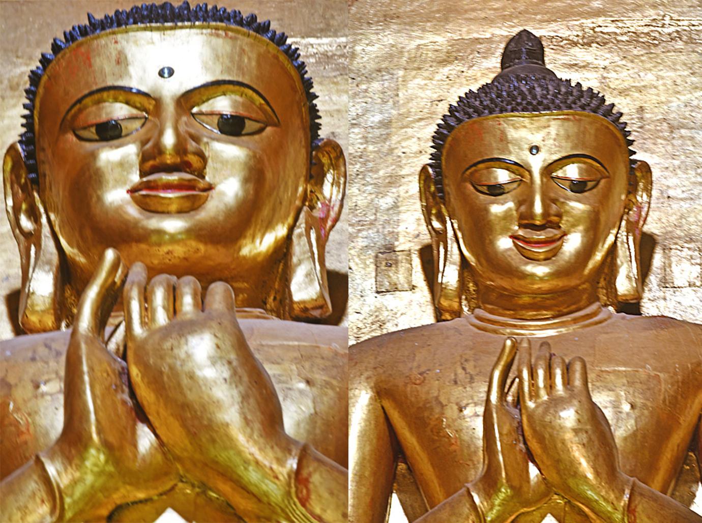站在近處(左)與遠處(右)見到的不同表情的迦葉佛像。