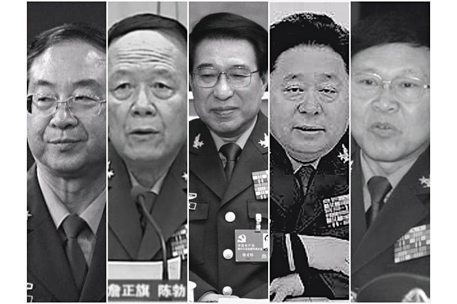 圖片左起依次為:房峰輝、郭伯雄、徐才厚、谷俊山、張陽。(合成圖片)