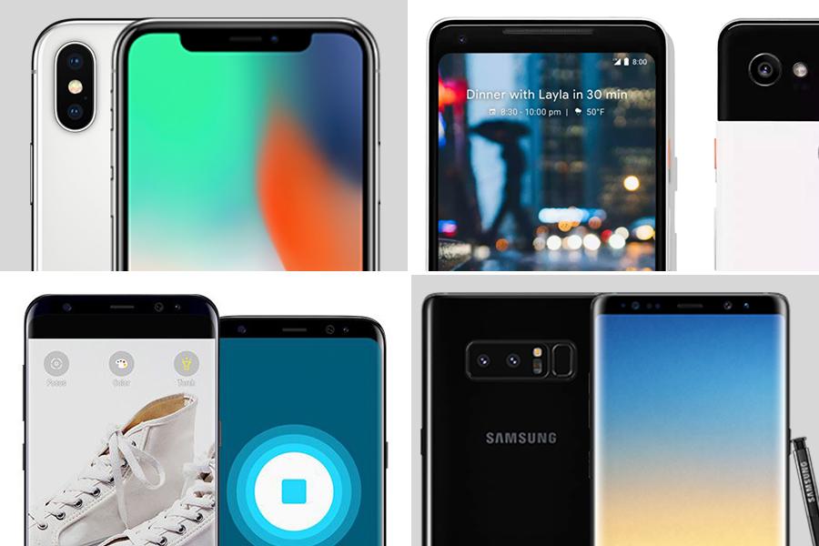 蘋果、Google、Samsung近月分別發表旗艦手機。(蘋果、Google、Samsung官方圖片/大紀元合成)