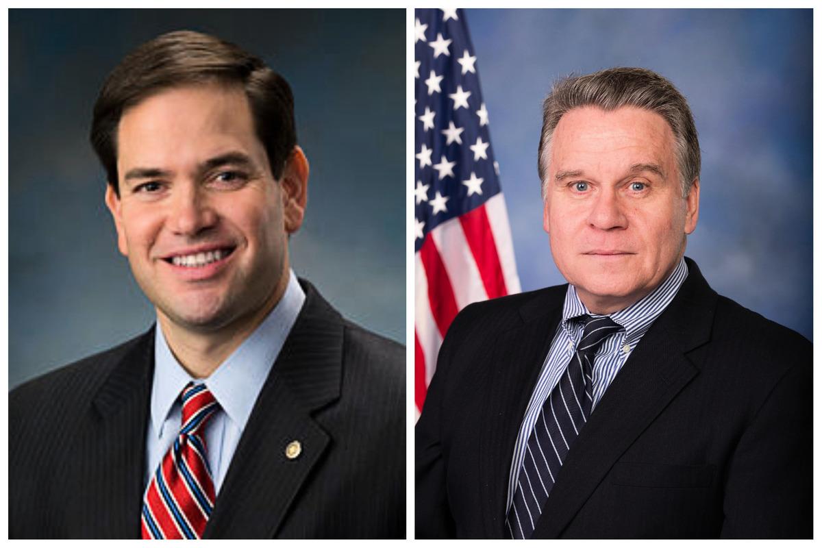聯邦參議員魯比奧(Marco Rubio)(左)和聯邦眾議員史密斯(Chris Smith)(右)。(大紀元合成圖)