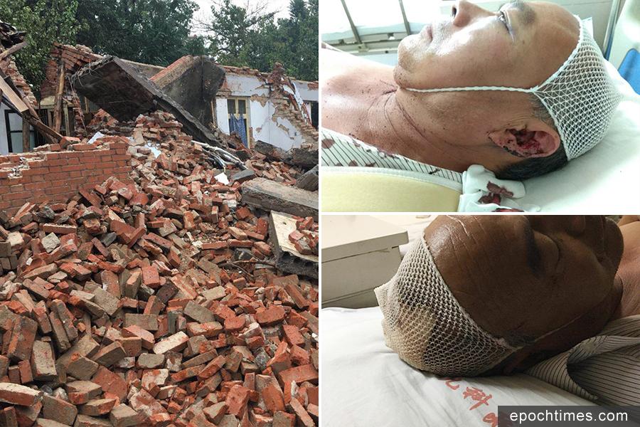 10月2日,河南鄭州市高新區百爐屯村再次發生強拆打傷村民事件。(受訪者提供)