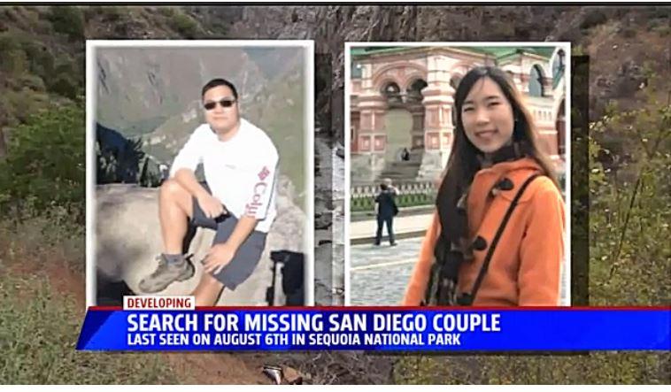 今年8月,一對中國夫婦在美國加州紅杉國家公園駕車旅遊時失蹤,警方認為,這對夫婦的車從山崖墜落到下面的激流中。周四(10月5日),警方和救援人員終於將兩人的遺體打撈上來。(視像擷圖)