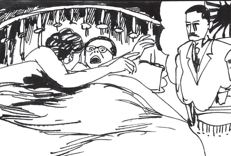 克格勃派出色情間諜克拉娃引誘江澤民。江澤民一頭紮進美女的懷抱。兩情相悅之際,克拉娃在江耳邊輕聲說出江的漢奸上司李士群的名字,嚇得江六神無主。(引自《江澤民其人》,繪畫/佟舟)