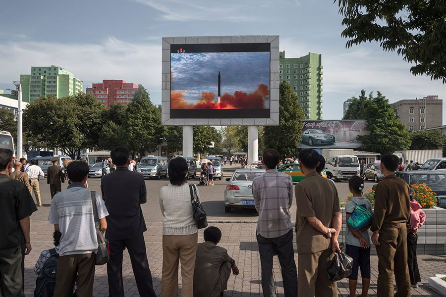 消息人士透露,北韓正在改進洲際彈道導彈,可能在幾個月內將導彈射到美國本土。(KIM WON-JIN/AFP/Getty Images)