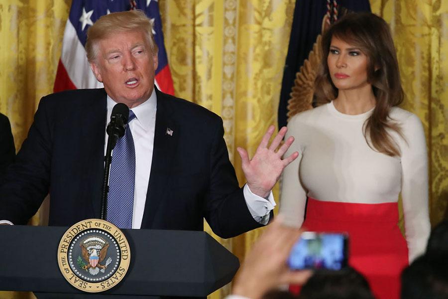 10月6日,美國總統特朗普在白宮參加慶祝「西班牙文化遺產月」的活動上講話。(Getty Images)