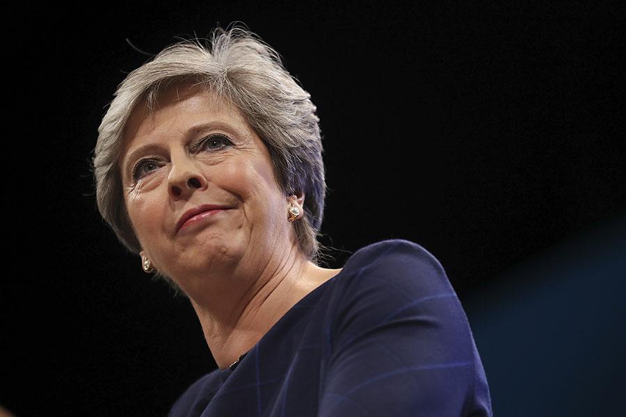 圖為英國首相文翠珊。(Christopher Furlong/Getty Images)
