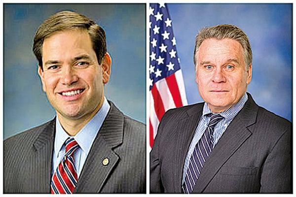 美國聯邦參議員盧比奧(Marco Rubio)(左)和聯邦眾議員史密斯(Chris Smith)(右) 表示,美國警惕中共滲透美國和世界。(大紀元合成圖)