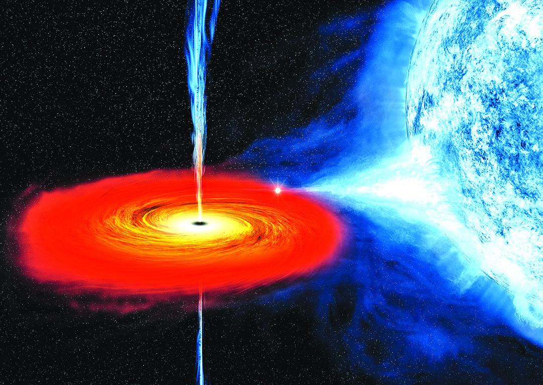 黑洞吞噬星體的示意圖。(NASA)