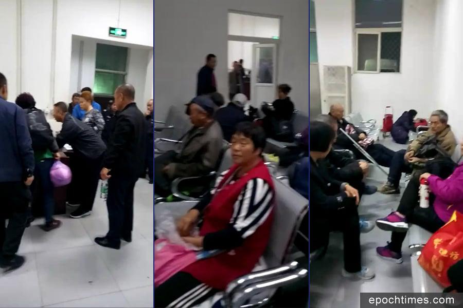 2017年10月8日晚上,各地在京訪民被抓到久敬莊。(視像擷圖/訪民提供)