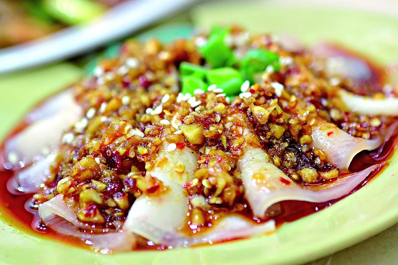 煮肉片,蒜蓉辣醬,川菜。