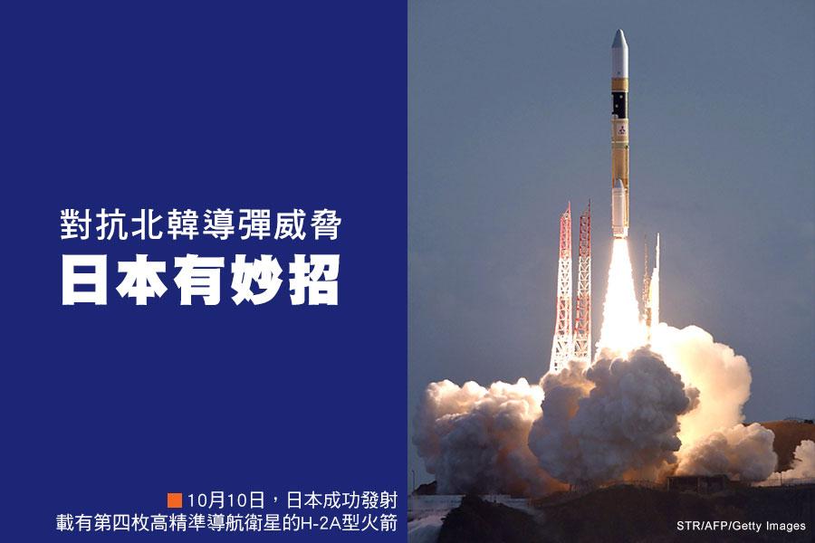 周二(10月10日),日本在其位於南部的航天中心,發射載有第四枚高精準導航衛星的H-2A型火箭,大約30分鐘後,日本官員宣佈衛星部署成功。(STR/AFP/Getty Images)