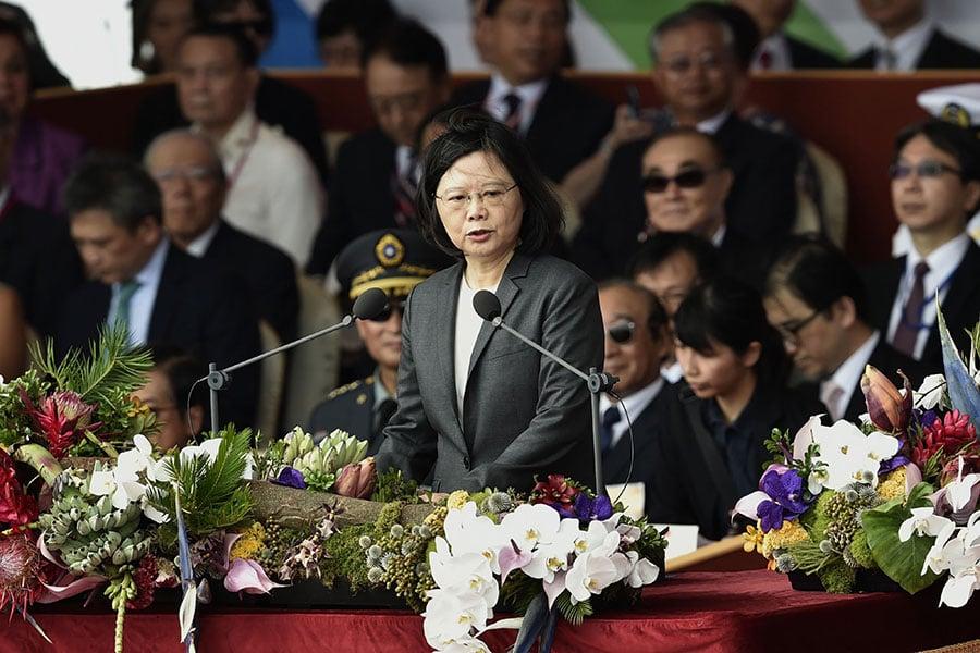 圖為10月10日,台灣總統蔡英文發表國慶演說。(SAM YEH/AFP/Getty Images)