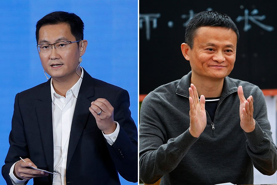 馬雲的阿里系,以及馬化騰的騰訊系,近年來迅速吞併新創科技企業,引日媒評論,稱「一切都被阿里巴巴和騰訊壟斷病」。(Lintao Zhang, Wang He/Getty Images/大紀元合成)