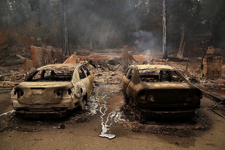 有超過119,000英畝的土地被燒毀,其中大部份是加州著名葡萄酒之鄉美麗如畫的景觀。(Justin Sullivan/Getty Images)