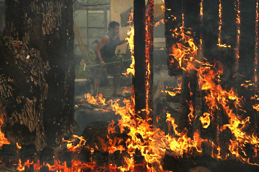 在乾旱、低濕度和強風助力下,十幾個野火正在北加州肆虐。(Justin Sullivan/Getty Images)
