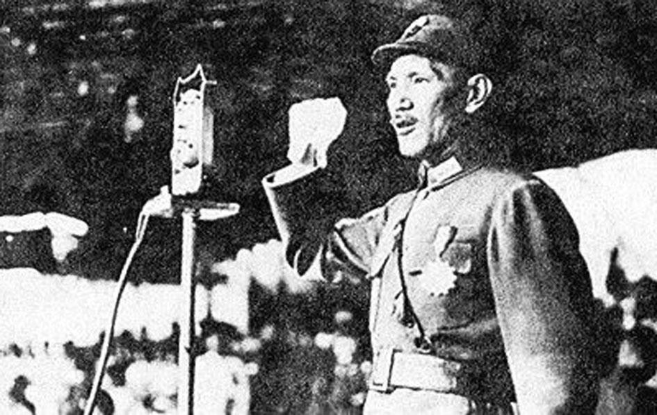 日寇侵華,宣稱「三月亡華」,蔣介石在廬山向全國人民發出「抗戰到底」的號召。(網絡圖片)