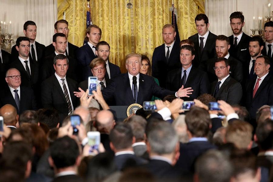 10月10日,特朗普在白宮活動上演講。(Win McNamee/Getty Images)