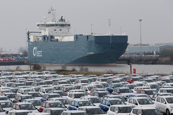 林肯郡Grimsby碼頭準備進入英國和離開的車輛。如果沒有協議就脫歐,英國沒有做好準備的話,碼頭可能會出現長長的車龍。(Getty Images)