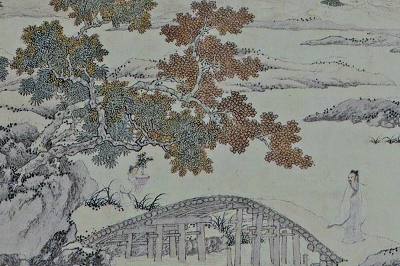明 周臣〈淵明賞菊圖〉局部(公有領域)