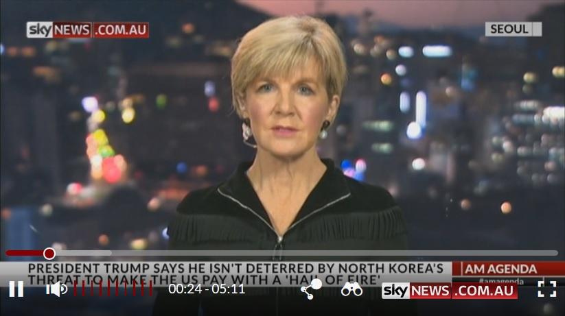 澳洲外交部長畢曉普表示,南韓官員擔心北韓可能在中共十九大召開之際發射導彈。(視像擷圖)