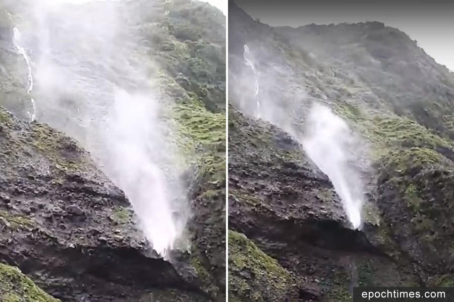 台蘭嶼颳14級強陣風 「時雨瀑」往天上流