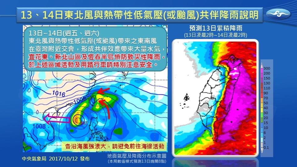 台灣氣象局針對10月13、14日東北風與熱帶性氣壓(或颱風)共伴降雨說明,這是當「東北風」 遇上南方的熱帶性低氣壓或颱風帶來的「東南風」時,非常容易在臺灣東半部造成致災性降雨的天氣型態。(中央氣象局Facebook)