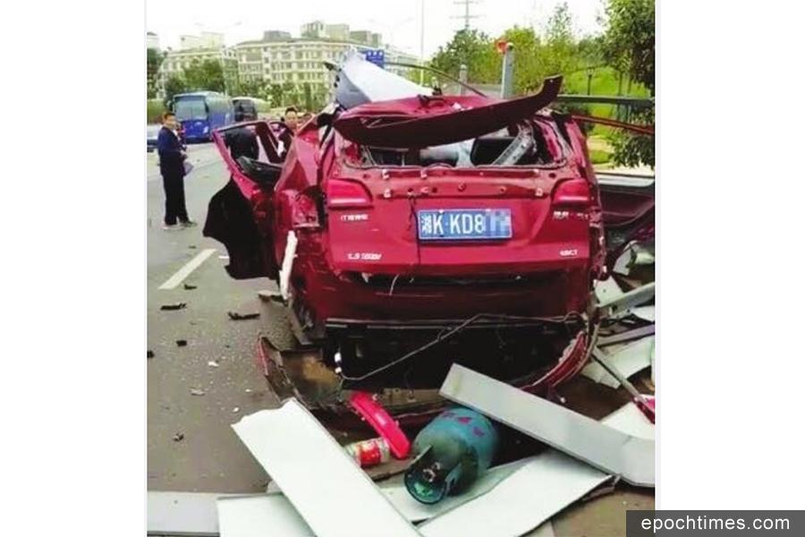 10月11日早晨,湖南長沙發生遙控解鎖車輛爆炸事件,車主受傷,車被炸爛。事故疑車內放液化氣空罐所致。圖為事發現場。(網絡圖片)