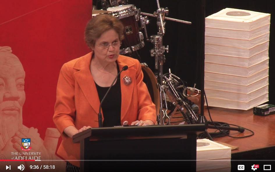 澳洲前駐華大使、外交部次長孫芳安 (Frances Adamson)呼籲,澳洲大學保護學術和言論自由不受中共滲透的影響。(視像擷圖)