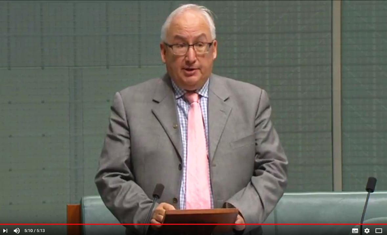 維省聯邦議員丹比(Hon Michael Danby MP)在國會議會的發言中表達了對中共滲透澳洲校園的擔憂。(視像擷圖)