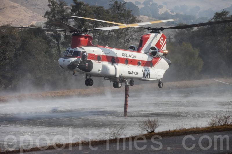 消防直升機在葡萄園的水塘裏吸水後飛到火場滅火。(曹景哲/大紀元)