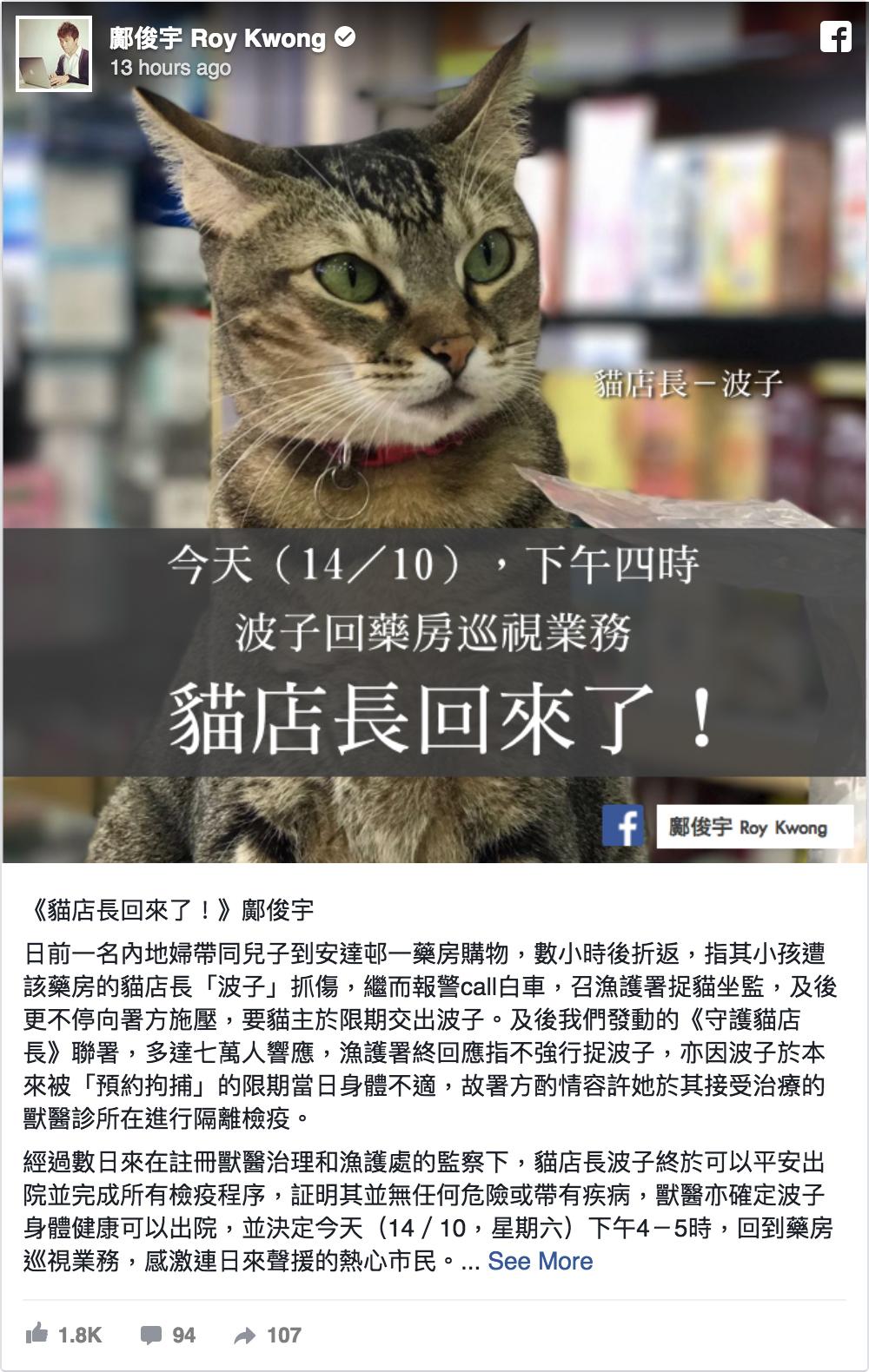 藥房貓「波子」疑抓傷一名內地男童被漁護署「預約拘捕」,至14日終「獲釋」回來。(鄺俊宇Facebook)