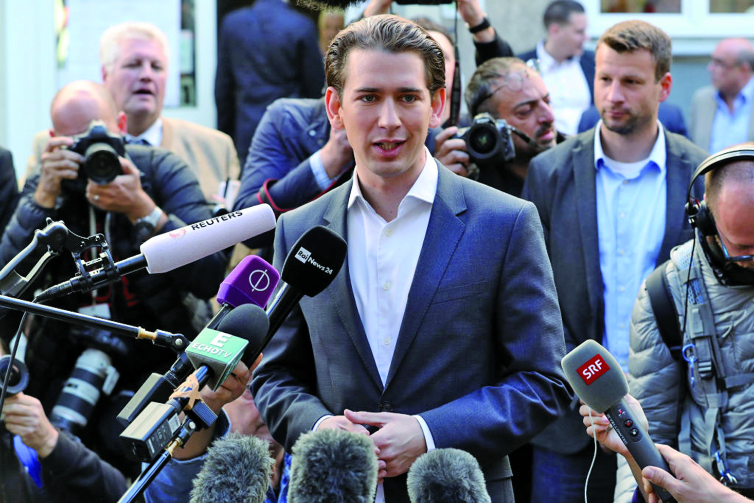 圖為奧地利31歲的人民黨主席庫爾茨(Sebastian Kurz)。(Getty Images)
