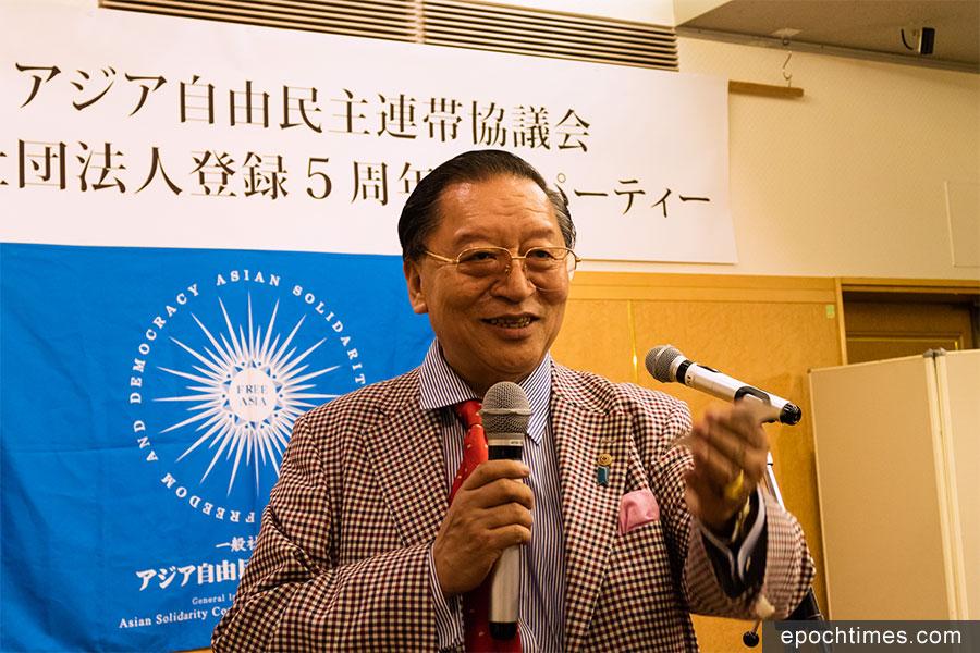 10月14日,設立在日本的亞洲自由民主連帶協議會在東京集會,紀念社團註冊五周年。圖為協議會主席Pema Gyalpo在會上發言。(游沛然/大紀元)