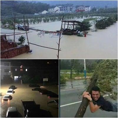 颱風「卡努」襲擊了海南、浙江、廣東三省部份地區,所經之處持續降雨,導致內澇、農田受損嚴重。(合成圖片)