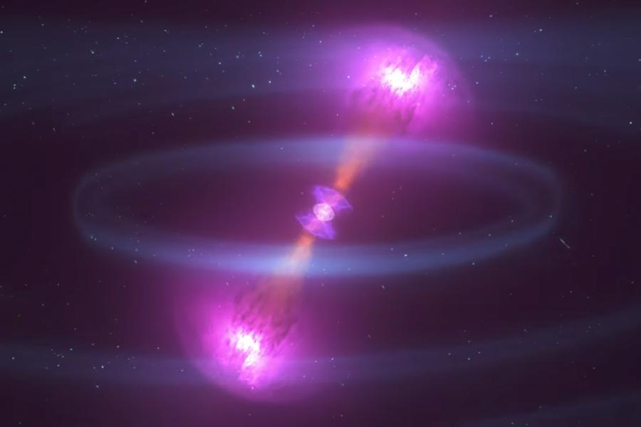 根據愛因斯坦的廣義相對論,黑洞碰撞會造成時空彎曲——引力波。(視像擷圖)