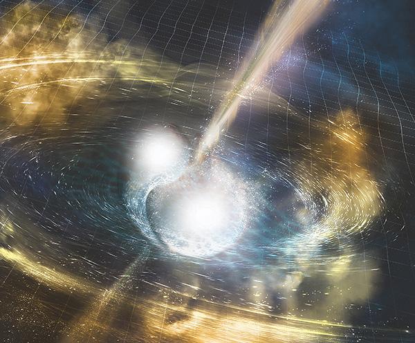 科學家宣佈,人類首次探測到兩顆中子星相撞產生重力波(圖中的時空漣漪),並將大量發光發熱的物質噴向宇宙,其中包括金、銀、鉑、鉛、鈾等元素。(LIGO模擬圖)