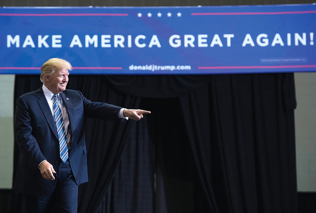2017年8月3日,特朗普總統出席在西維珍尼亞州亨廷頓舉行的「讓美國再度偉大」的集會。(AFP)