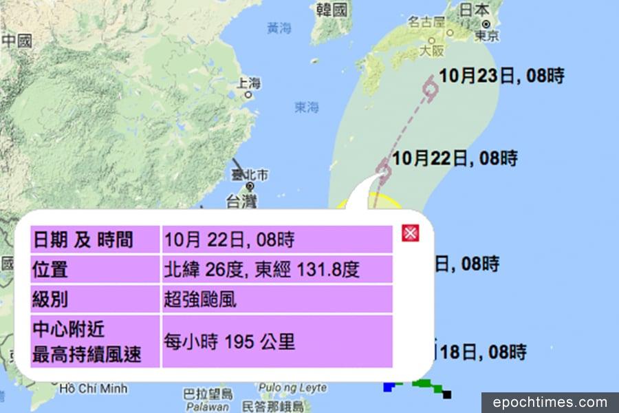 香港天文台預測蘭恩會在21日增強為超強颱風,22日時中心附近最高持續風速更將達到每小時195公里。(香港天文台)