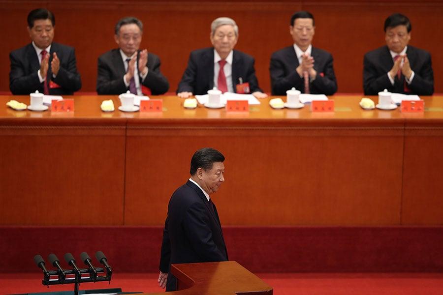 習近平在中共十九大會場。(Lintao Zhang/Getty Images)