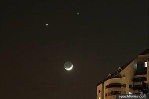 中共十九大前 現「雙星伴月」罕見天象