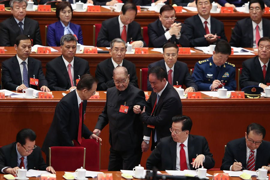 中共元老,前中組部長宋平出席開幕儀式,宋平被認為是江澤民的死敵。(Lintao Zhang/Getty Images)