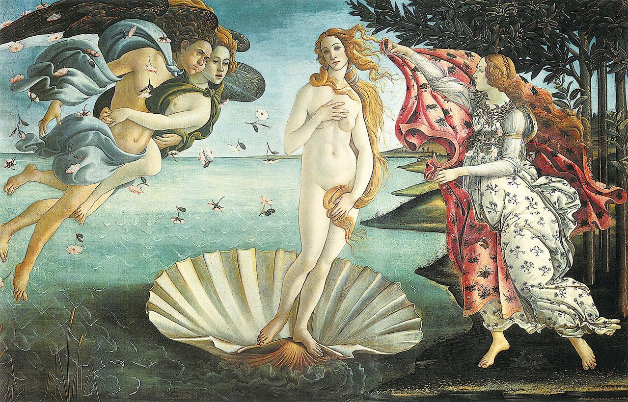 文藝復興早期的佛羅倫斯畫派藝術家桑德羅·波提切利最成功的畫作之一:《維納斯的誕生》。 (維基百科)
