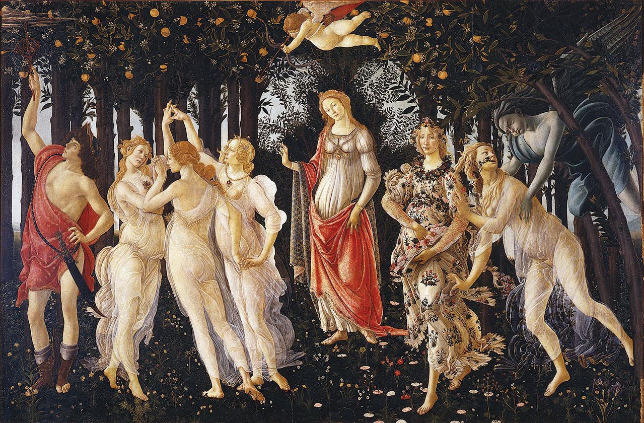 文藝復興早期的佛羅倫薩畫派藝術家桑德羅·波提切利最成功的畫作: 《春》。(維基百科)