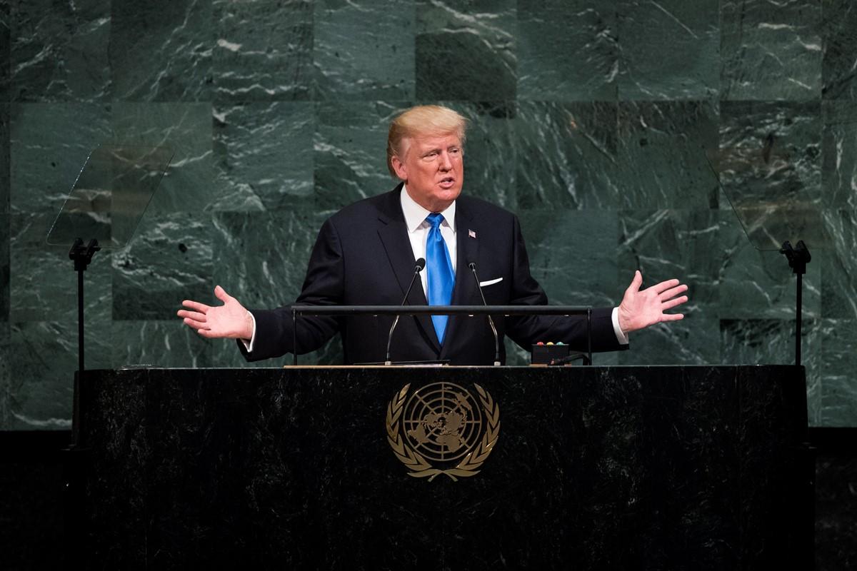 圖為美國總統特朗普9月19日在聯合國大會上發表演講。 (Getty Images)