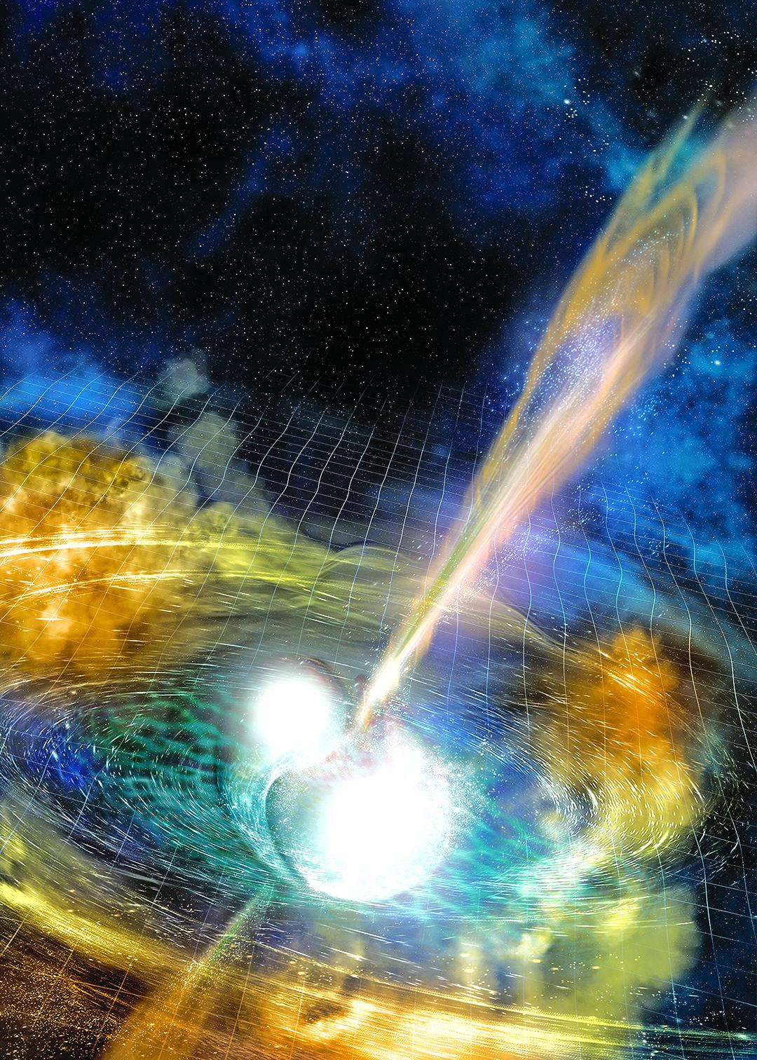兩個中子星相撞發出引力波和光波的示意圖。(NASA)