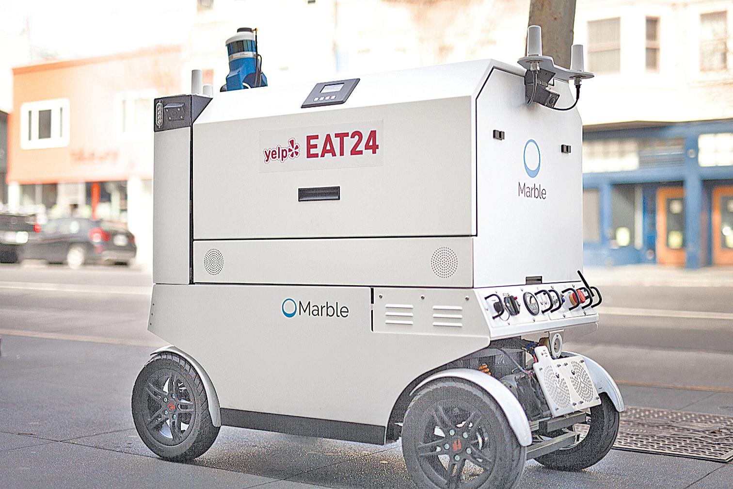 Marble和Yelp Eat24合作,準備在舊金山部份地區推出餐廳送餐服務。(Marble Robotics)