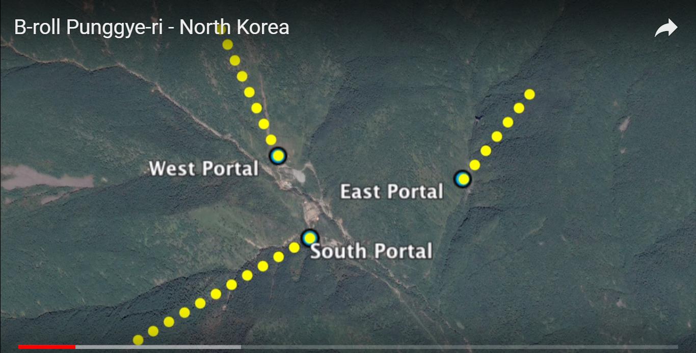 南韓氣象局局長星期一(10月30日)在國會回答議員質詢時表示,衛星圖像顯示,如果北韓進行另一次核試,很有可能發生核幅射外洩。圖為北韓豐溪里核試場衛星圖。(視像擷圖)