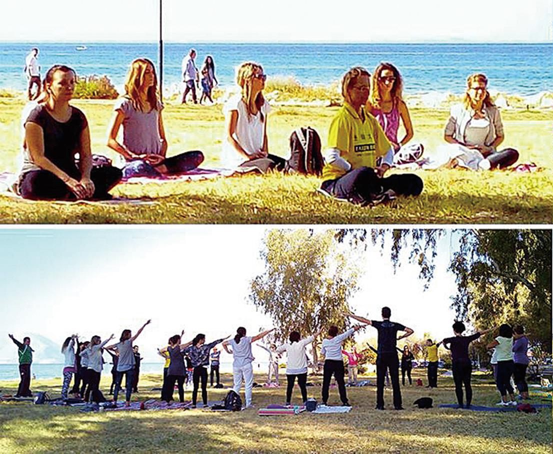 希臘南部海濱城市Patra,人們正在學煉法輪功。(明慧網)