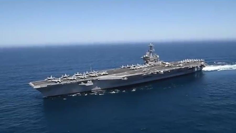 西奧多・羅斯福號航母(USS Theodore Roosevelt,外號「大棒」)本月初離開聖地亞哥母港,計劃部署到西太平洋和波斯灣。目前加入在朝鮮半島部署的羅納德・列根號航母戰鬥群。(視像擷圖)